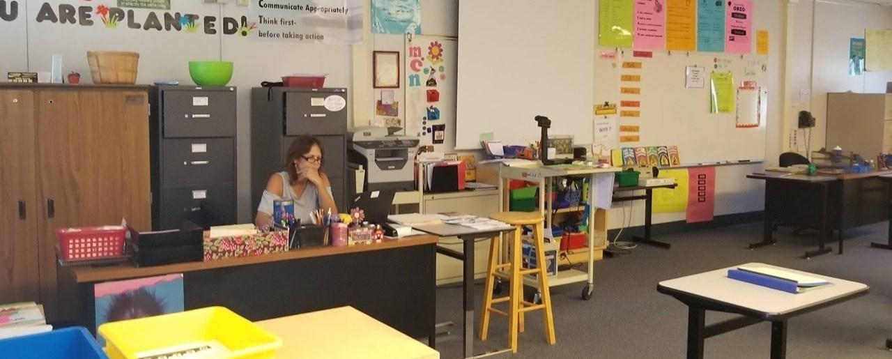 Elementary Teacher working on lesson